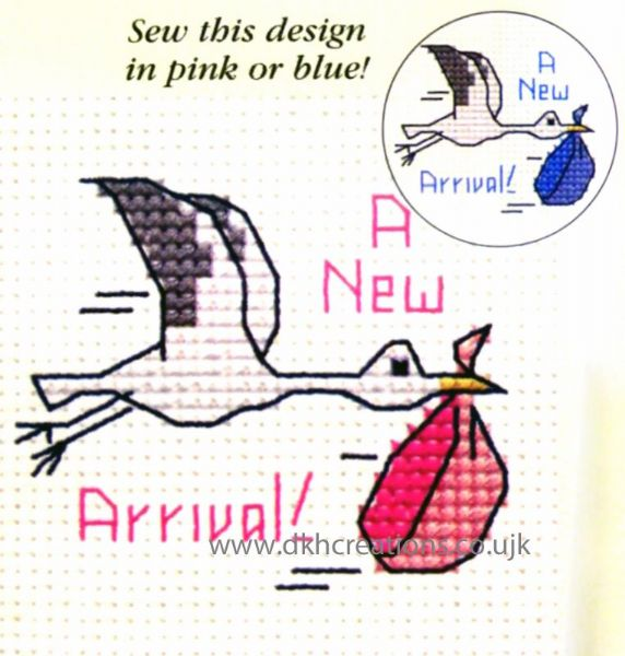 New Arrival Stork Card Cross Stitch Kit